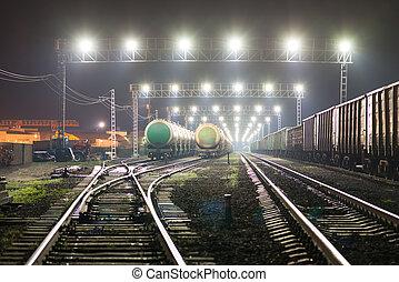 voitures, yard chemin fer, cisterns, rail