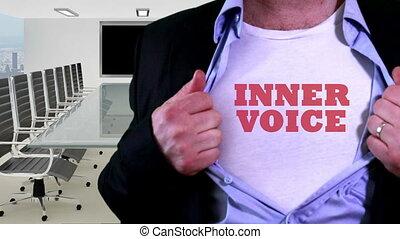 voix, concept, intérieur, chemise