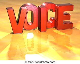 voix, mot, fond jaune