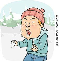 voják, kýchnutí, sněžit, ilustrace