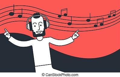 voják, listening to hudba, a, tančení.