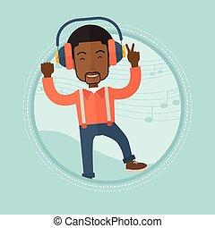 voják, listening to hudba, do, sluchátka, a, tančení.