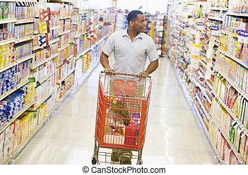 voják, nakupování, v, grocery store