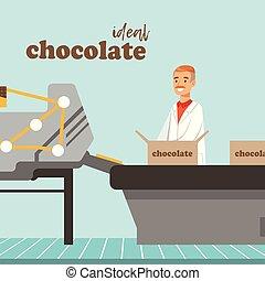 voják, obal, dávat, o, čokoláda, dále, továrna, dopravník, mužský, kontrolor, controlling, ta, výroba metoda, vektor, ilustrace