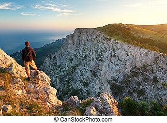 voják, on top of, mountain.