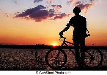 voják, s, jeden, jezdit na kole