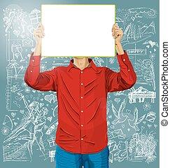 voják, s, napsat, deska, na, láska, grafické pozadí