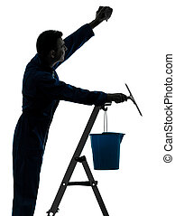voják, ubytovat se, dělník, vrátný, čištění, windows čistě, silueta