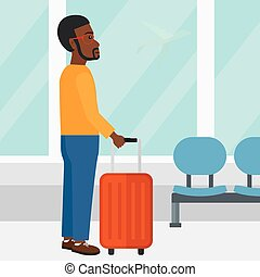 voják, v, letiště, s, suitcase.