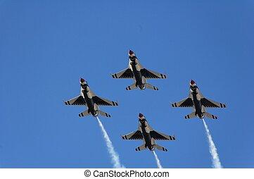 vojenský letadlo, hejno, zápasník, demonstrace
