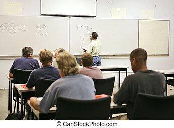 voksen, klasse, undervisning