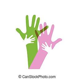voksne, børn, sammen, hænder
