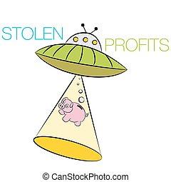volé, dessin animé, profite