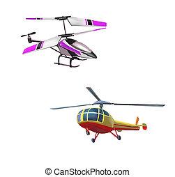 vol, éloigné, hélicoptère, modèle, contrôlé, jouet