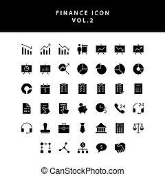 vol., スタイル, アイコン, セット, glyph, ビジネス, 2, 金融