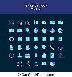 vol., スタイル, 平ら, アイコン, セット, ビジネス, デザイン, 2, 金融
