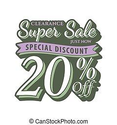 Vol. 2 Super Sale 20 percent heading design vintage style  for banner or poster. Sale and Discounts Concept. Vector illustration.