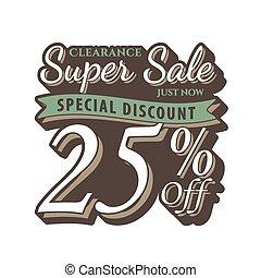 Vol. 2 Super Sale 25 percent heading design vintage style  for banner or poster. Sale and Discounts Concept. Vector illustration.