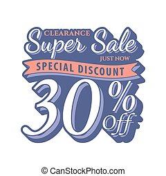 Vol. 2 Super Sale 30 percent heading design vintage style  for banner or poster. Sale and Discounts Concept. Vector illustration.