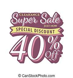 Vol. 2 Super Sale 40 percent heading design vintage style  for banner or poster. Sale and Discounts Concept. Vector illustration.