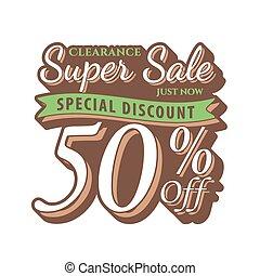 Vol. 2 Super Sale 50 percent heading design vintage style  for banner or poster. Sale and Discounts Concept. Vector illustration.