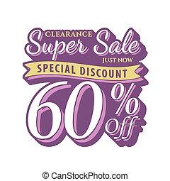 Vol. 2 Super Sale 60 percent heading design vintage style  for banner or poster. Sale and Discounts Concept. Vector illustration.