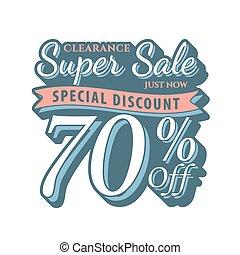 Vol. 2 Super Sale 70 percent heading design vintage style  for banner or poster. Sale and Discounts Concept. Vector illustration.