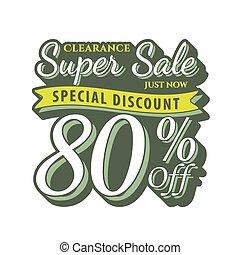 Vol. 2 Super Sale 80 percent heading design vintage style  for banner or poster. Sale and Discounts Concept. Vector illustration.