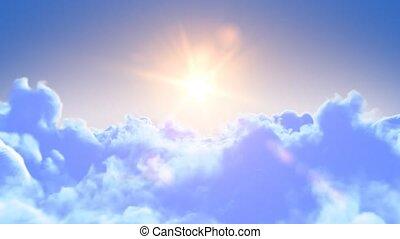 vol, au-dessus, nuages, lent