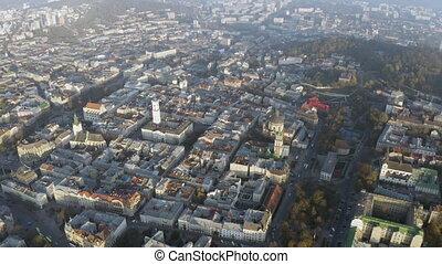 vol, au-dessus, vieux, sunrise., ville, lviv, city.,...