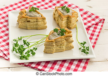 Vol-au-vents shaped like a christmas tree, filled with...