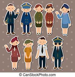 vol, autocollants, dessin animé, attendant/pilot