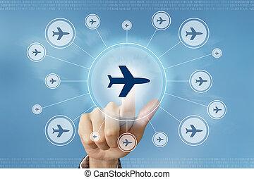 vol, business, bouton, main, presse, voyage