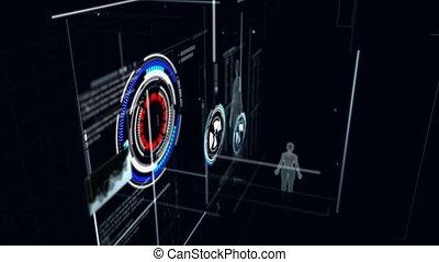 vol, chaîne, cyber, sombre, noir, perspective, fond, grain, flotter, chimie, technologie, futuriste, traité