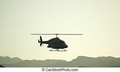 vol ciel, extrême, mouvement, hélicoptère, coucher soleil, lent