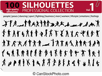 vol., collezione, 1, silhouette, professionale, 100