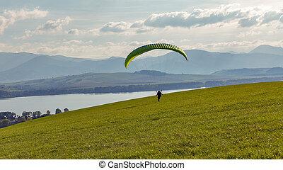 vol, débuts, sports, hill., activity., paraglider, extrême