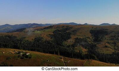vol, drone., planet., concept, nature, europe, brumeux, voler, notre, montagnes, village, été, vue, beauté, stupéfiant, carpathians.