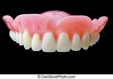 vol gebit, dentaal, schaaltje, op, zwarte achtergrond