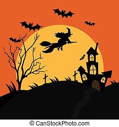 vol huis, moon., vliegen, begraafplaats, verschrikkelijk, illustratie, vector, heks, bos, onheilspellend