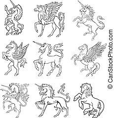 vol, ix, heráldico, monstruos