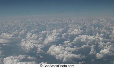 vol, nuages, au-dessus