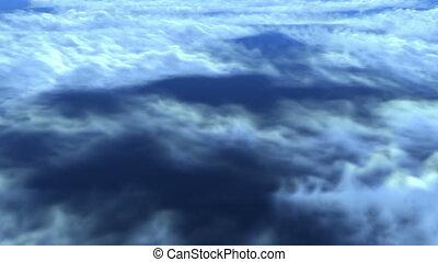 vol, nuages, sur