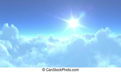 vol, nuages, sur, lent