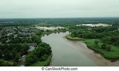 vol, panorama, sur, ensoleillé, forêts, maisons, 4k, résidentiel, rivière