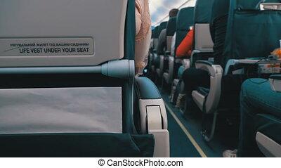 vol passager, séance, chaises, intérieur, passagers, avion, pendant, cabine