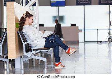vol passager, transit, attente, appareils, salon, aéroport