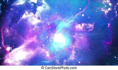 vol, réaliste, arrière-plan., champ, manière, boucle, lumière, étoile, animation, galaxie, espace, laiteux