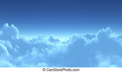 vol, sur, nuages, 4k