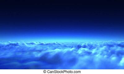 vol, sur, nuages, nuit